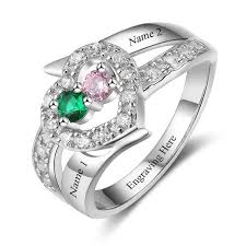 mothers rings 2 stones 2 jeweled hearts mothers ring or promise ring think engraved