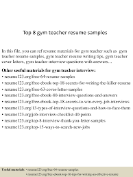 Teaching Resume Sample by Top8gymteacherresumesamples 150528141455 Lva1 App6891 Thumbnail 4 Jpg Cb U003d1432822873