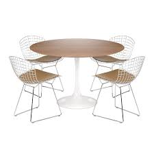 Bertoia Dining Chair Tulip Table Oak 4 Bertoia Side Chair Brown Chromed