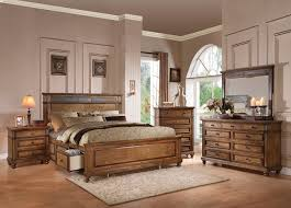 Storage Bed Sets King Rustic 4 Pc King Storage Bed Set With Accent Inlay Oak Finish