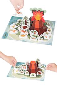 dinosaur island paper toy diy paper craft kit 3d model