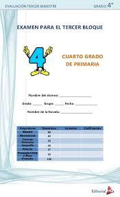 libros para leer de cuarto grado evaluación tercer bimestre grado 4 examen para el tercer bloque