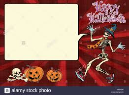 happy halloween funny skeleton invites you to a party stock vector