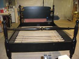 custom stain on queen mahogany cannonball bed with oversize posts