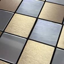 tile backsplash kitchen stainless steel tiles square metallic