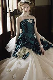 green wedding dress white and emerald green wedding dress