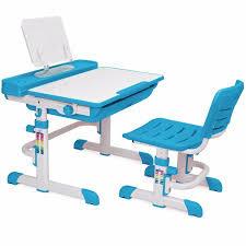 Kids Work Desk by Kids Interactive Work Station Desk U0026 Chair Adjustable Height Blue