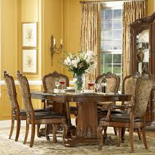 a r t furniture old world 7 piece double pedestal dining set with