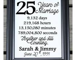 25 year wedding anniversary 25 years together etsy