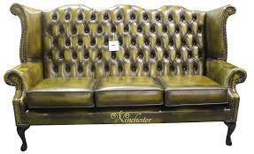 Chesterfield  Seater Queen Anne High Back Wing Sofa Chair Antique - Chesterfield sofa and chairs