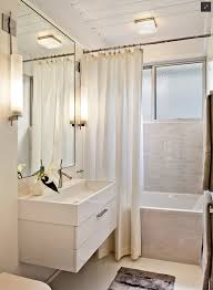 awesome small bathroom with catchy white fabric curtain plus