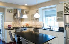 kitchen with white cabinets and black granite home design ideas