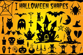 spooky cemetery clipart halloween vector shapes set shapes creative market