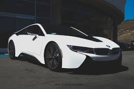 bmw i8 matte white wrapped bmw i8