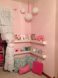 reading corner in little girls room we used plastic rain gutters