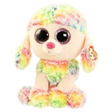 ty beanie boos rainbow poodle glitter eyes medium size