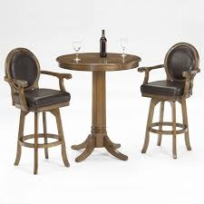 table with 2 stools hillsdale warrington round bar height pub table in rich cherry 6125ptb