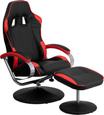 Game Chair Ottoman by Race Car Seat Style Black U0026 Red Vinyl Home Office Recliner Chair