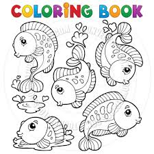 cartoon coloring book with fish by clairev toon vectors eps 32497