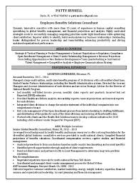 Business Consultant Resume Benefits Consultant Resume Example Cover Letter Examples Bullet
