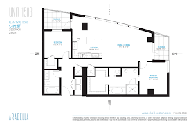 1 Bedroom Condo Floor Plans by Floor Plans Arabella Houston