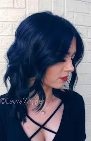 midnight blue black hair color u0026 textured lob instagram