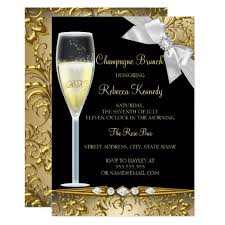 chagne brunch invitations black gold white chagne brunch invite zazzle