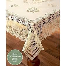 lace vinyl table covers crochet lace vinyl tablecloths beige 70 quot round walmart com