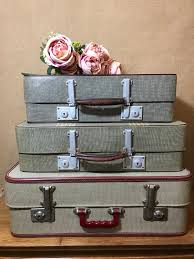 vintage luggage cases anthi leoni decor vintage suitcase stack 3 vintage retro luggage stack cream brown red home decor