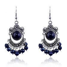 Beaded Chandelier Clip Earrings White Lureme Vintage Black And Blue Bead Silver Tone Chandelier Https