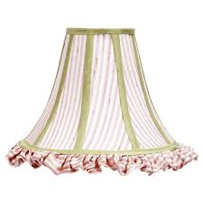 white bell l shade large pink white stripe ruffled bell shape shade with sage green trim