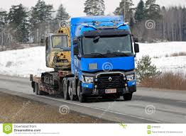 renault trucks t blue renault trucks t hauls construction equipment editorial photo