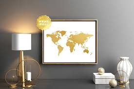 gold world map world map real gold foil art print world map