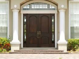 Double Swing Doors Modern Entry Doors With Dark Brown Stained Wooden Double Swing