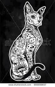 vintage style beautiful gothic cat body stock vector 667287427