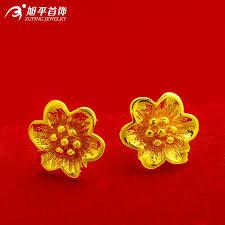 anting emas 24 karat xuping wanita terbaru desain bunga pejantan anting emas 24 karat