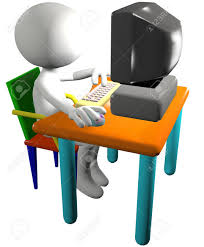 cartoon 3d man pc user presses a key and clicks a mouse on a