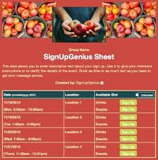 sign up themes food