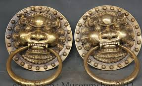 foo dog door knocker scy 9 brass fu foo dog guardion lion mask