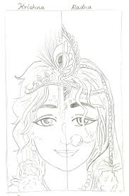 colourful sketch of radha krishna learn to draw project