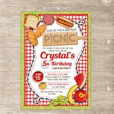 Invite Birthday Card Picnic Invitation Outdoor Family Cookout Invite Park Backyard Bbq