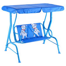 Lawn Swing Outdoor Kids Patio Swing Bench With Canopy 2 Seats Porch Swings