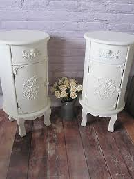 pair of round shabby chic cream bedside tables cabinets antique