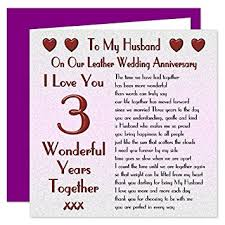 wedding anniversary cards my husband 3rd wedding anniversary card on our leather