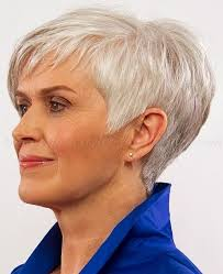 short haircuts women over 50 back of head i like the volume and length of the sideburn on this one not too