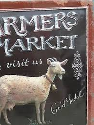 Goat Decor Primitive Country Farmers Market Embossed Goat Sign Farmhouse Home