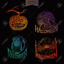 halloween handdrawn engraving style labels set pumpkin ghosts