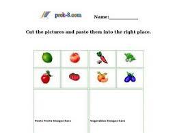 classifying fruits and vegetables kindergarten 1st grade