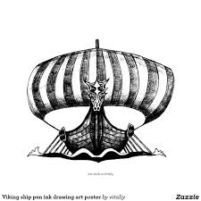 viking ship pen ink drawing art poster fa ee cfb zb byvr pen and