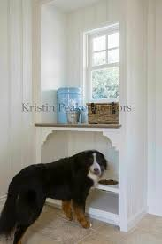 window bench for dog mudroom with built in dog bowls transitional laundry room